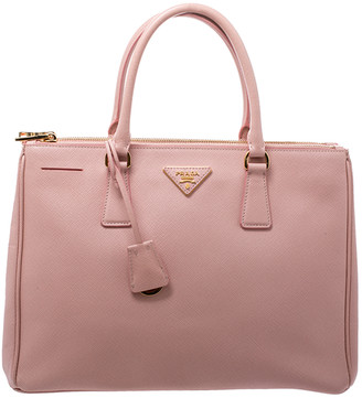 Prada Pink Saffiano Lux Leather Medium Double Zip Tote