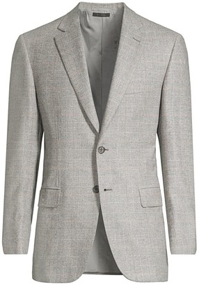 Brioni Prince Of Wales Virgin Wool Single-Breasted Jacket