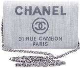 One Kings Lane Vintage Chanel Gray Linen Cross-Body Bag