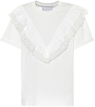 Philosophy di Lorenzo Serafini Lace-trimmed cotton T-shirt