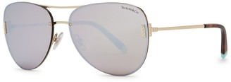 Tiffany & Co. Light gold-tone aviator-style sunglasses