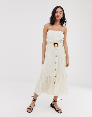 Moon River button through midi dress with buckle-Cream