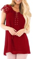 ACHICGIRL Women's Lace Sleeves Lace up Tunic Top, L