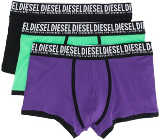Diesel Three-Pack Slogan-Detail Boxers