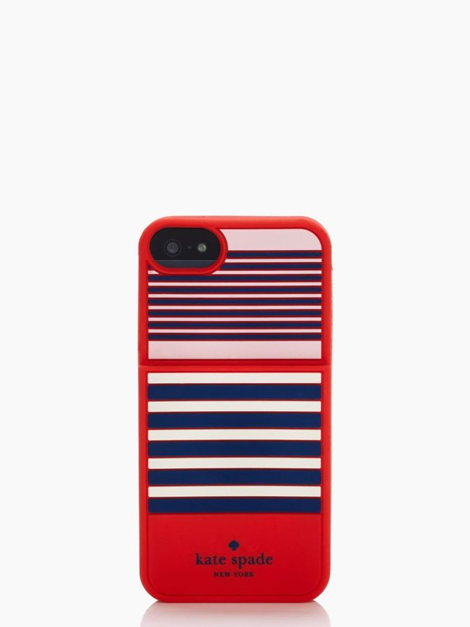 Kate Spade L'aventura stripe pocket silicone iphone case