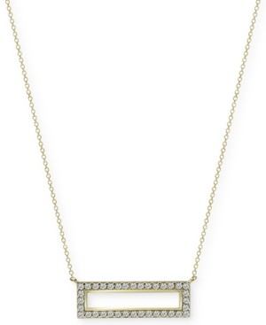 "Argentovivo White Beaded Bar 18"" Pendant Necklace in Gold-Plate Over Sterling Silver"