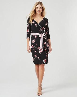 Le Château Reversible Floral Print Knit V-Neck Dress