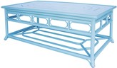 The Well Appointed House Four Season Indoor Outdoor Aluminum Coffee Table in Blue - LOW STOCK ,ORDER NOW