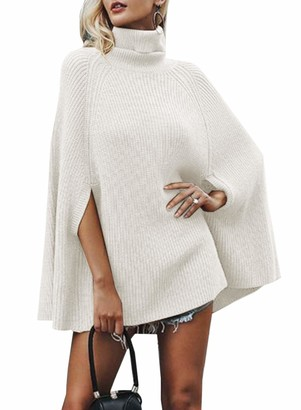 FUTURINO Women's Casual Turtleneck Knitted Poncho Sweater Knit Cape Pullover Solid Sweaters White