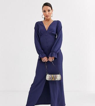 Asos Tall DESIGN Tall long sleeve button through textured maxi dress-Navy