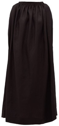 Matteau Cocoon Boat-neckline Linen-blend Dress - Black