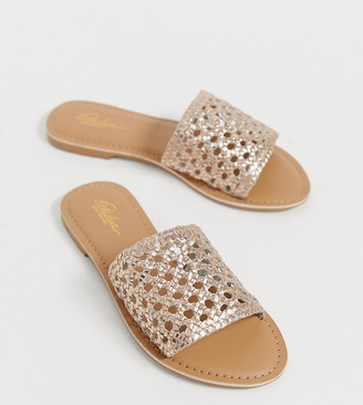 Park Lane wide fit leather woven mules-Copper