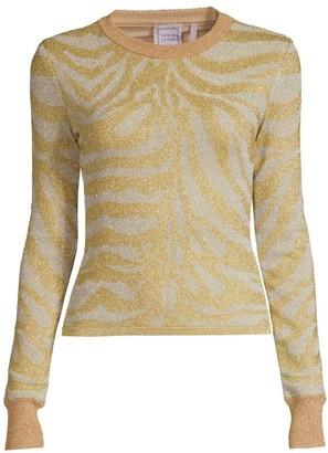Herve Leger Zebra-Print Lurex Knit Long-Sleeve Sweater