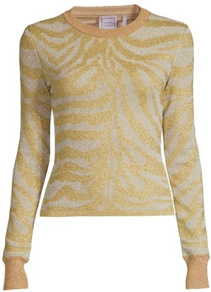 Herve Leger Zebra-Print Lurex Knit Long-Sleeve Sweater