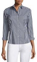 Lafayette 148 New York Janessa Button-Front Check-Print Blouse, Black/Multi