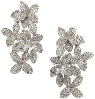 Nina Gilin 14K Yellow Gold & Black Rhodium Silver Diamond Floral Earrings