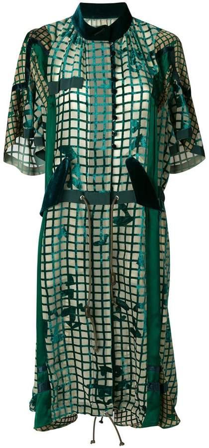 Sacai grid velvet dress