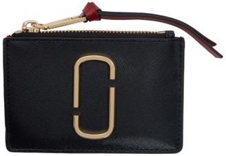 Marc Jacobs Black and Burgundy Small Snapshot Top Zip Card Holder