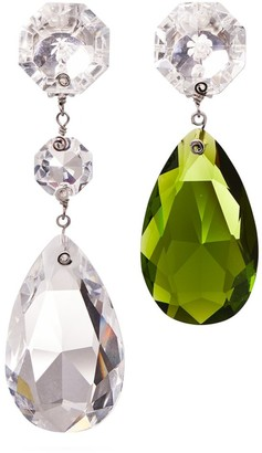 Tory Burch Multi-Crystal Mismatched Drop Earring