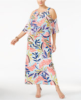 NY Collection Plus Size Printed Cold-Shoulder Maxi Dress