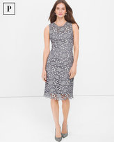 White House Black Market Petite Silver Tonal Lace Sheath Dress