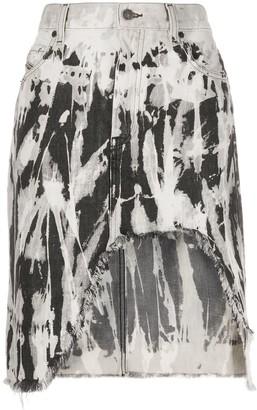 Diesel Frayed Ripped Denim Skirt