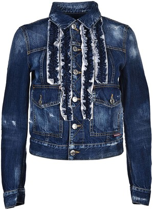 DSQUARED2 Frill Embroidered Denim Jacket