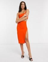 Vesper midi skirt with split in orange