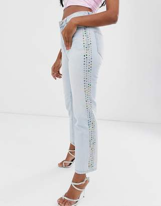 Miss Sixty high rise slim jean with rhinestone detail-Blue