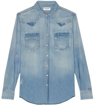 Saint Laurent Classic Western Denim Shirt Blue