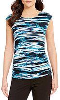 Calvin Klein Printed Matte Jersey Cap Sleeve Top