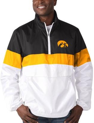 G Iii Men's G-III Sports by Carl Banks White Iowa Hawkeyes No Huddle Half-Zip Pullover Jacket