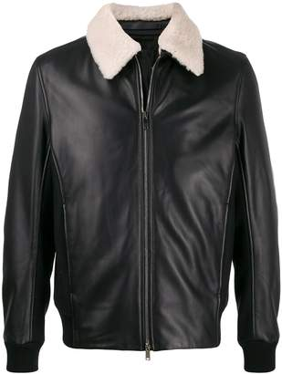 Theory slim-fit panelled flight jacket