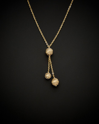 Italian Gold 14K Two-Tone Diamond Cut & Swirl 3 Bead Necklace
