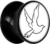Body Candy Black Acrylic White Dove Saddle Plug Pair 2 Gauge