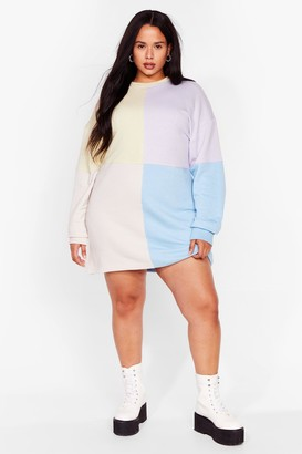 Nasty Gal Womens Be Bright There Plus Colorblock Dress - Purple - 16
