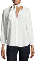 Joie Nile Tie-Neck Silk Shirt, White