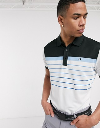 Calvin Klein Golf Flint polo shirt in white with blue stripes