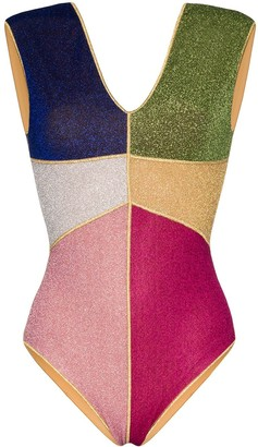 Oseree Lumiere colour block swimsuit