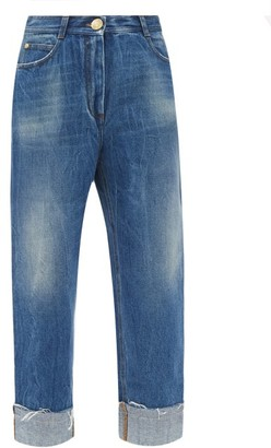 Balmain High-rise Vintage-effect Turn-up Jeans - Denim