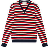 Gucci Striped wool v-neck sweater