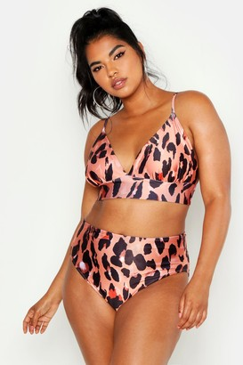 boohoo Plus Leopard Print Triangle High Leg Bikini