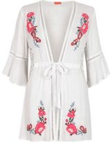 River Island Womens White floral embroidered bell sleeve caftan