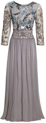 Jywal London EMBELLISHED LONG SLEEVE GREY BRIDESMAID MAXI DRESS