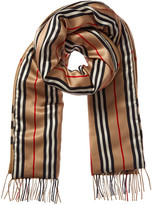 Burberry Check & Icon Stripe Cashmere & Silk Scarf