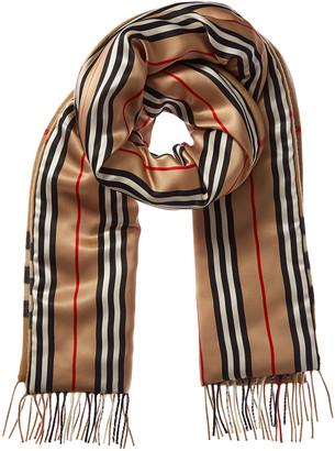 Burberry Check & Icon Stripe Cashmere & Silk Scarf