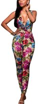 Mojessy Women's V Neck Floral Mesh Bodycon Long Pants Jumpsuits Rompers Clubwear
