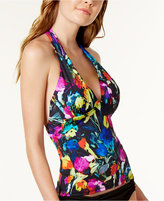 Bar III Painted Posies Macramé-Back Halter Tankini Top, Only at Macy's