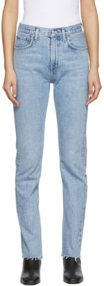 A Gold E Agolde AGOLDE Blue Ceerie High Rise Straight Fit Jeans