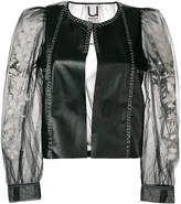 Aviu sheer-sleeve biker jacket